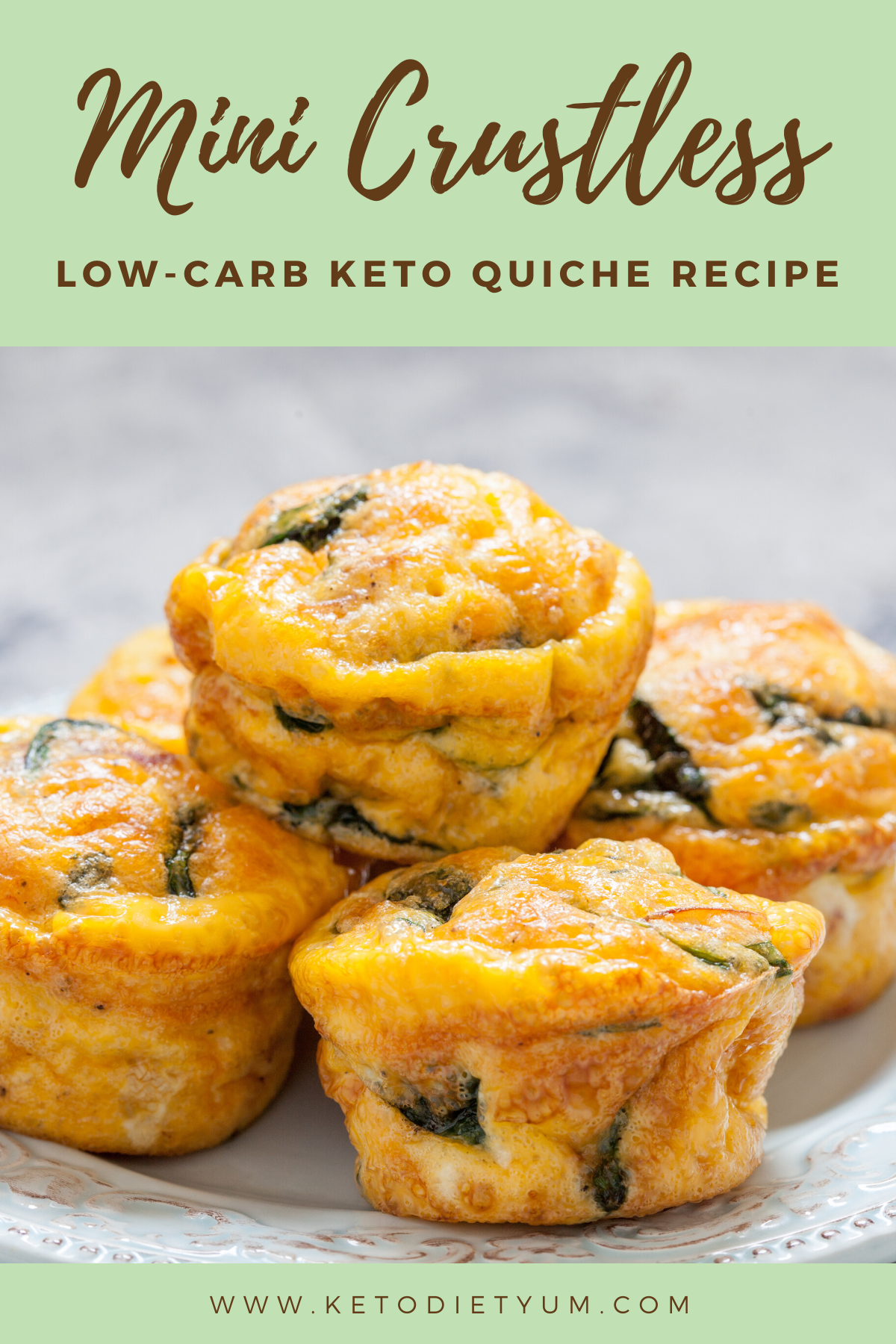 These low-carb mini crustless quiches are a great go-to keto recipe for breakfast, brunch, snacks or even a light dinner. Make them ahead of time for an easy breakfast! #ketodiet #ketorecipes #lowcarbrecipes
