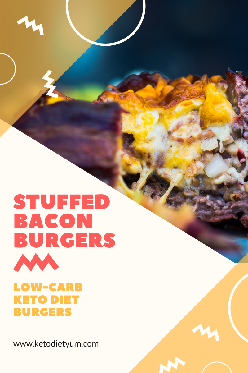 These Keto Stuffed Bacon Burgers are simple, easy and bursting with delicious flavor. Melted, gooey cheese with extra on the top and sliced bacon for an extra crunch, yum! #ketodiet #ketorecipes #lowcarbrecipes