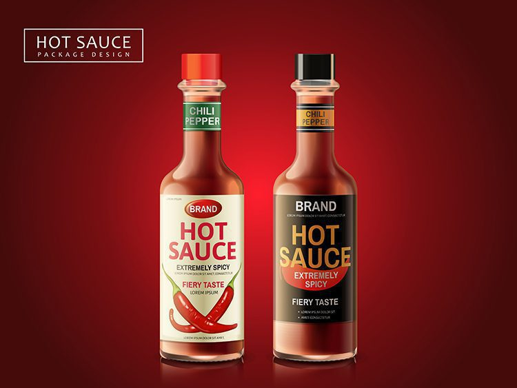 Two bottles of hot sauce