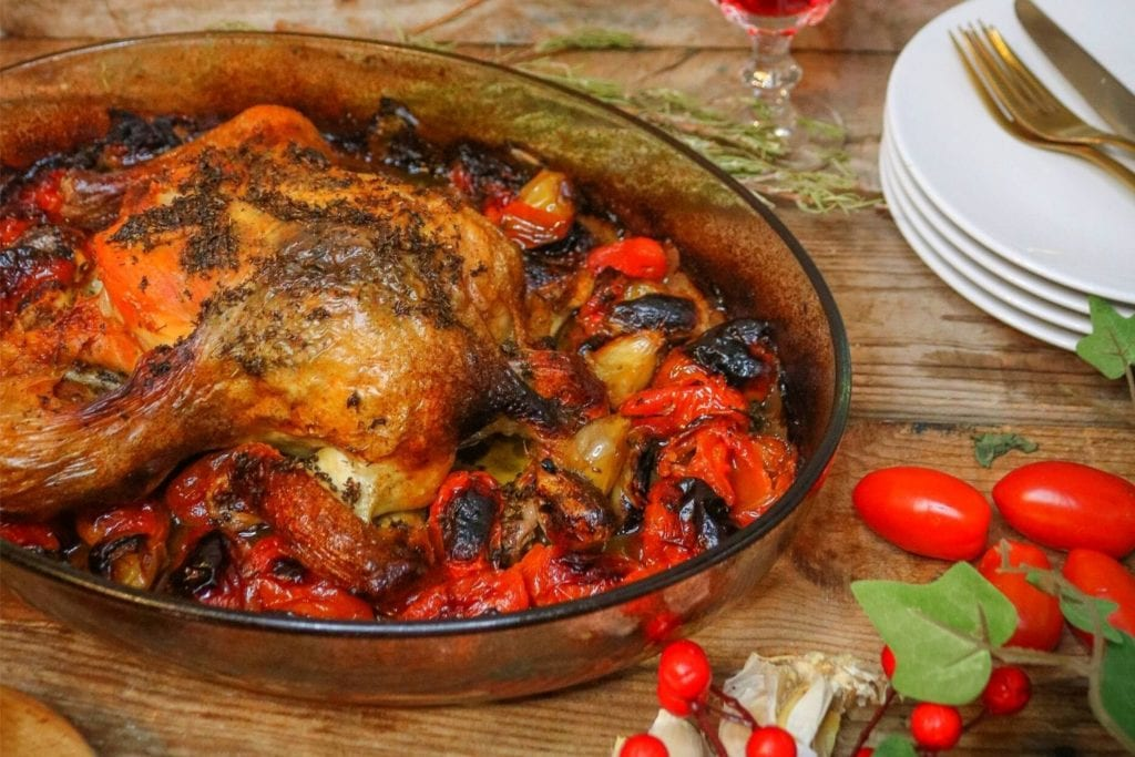 Herb Roasted Chicken with Slow Roasted Tomatoes and Garlic