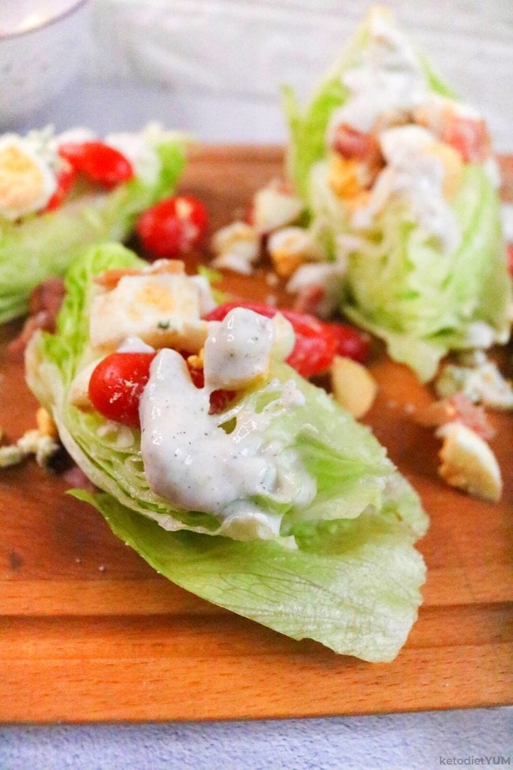 Healthy iceberg lettuce salad with healthy toppings