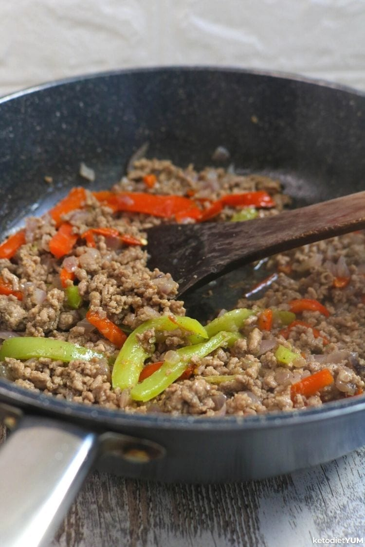 Philly cheesesteak casserole recipe frying the ground beef