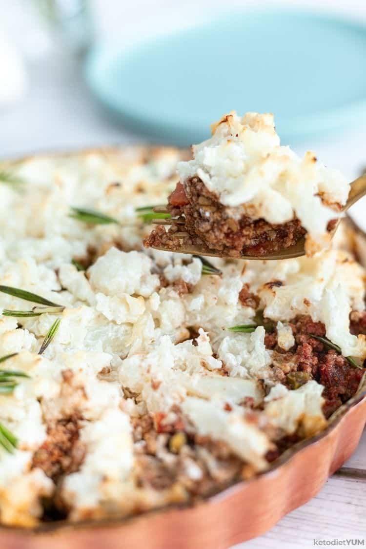 A bite of keto shepherd's pie with cauliflower