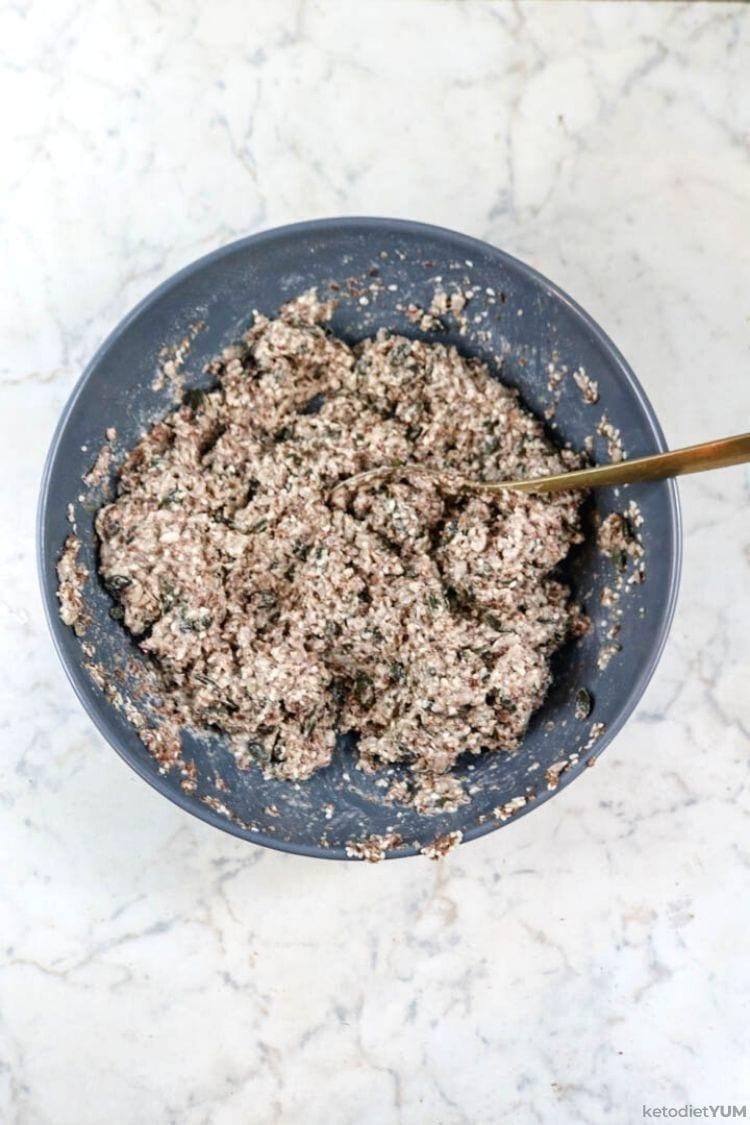 Making the keto crackers dough