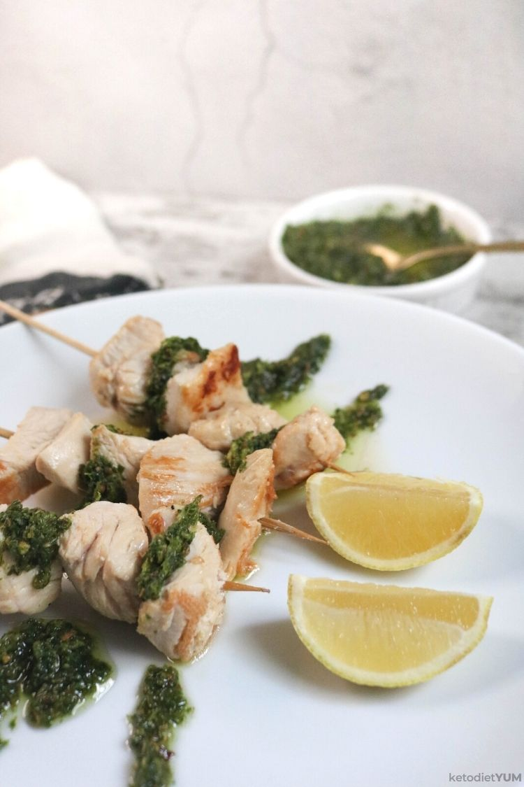 Perfect chicken skewers with chermoula sauce