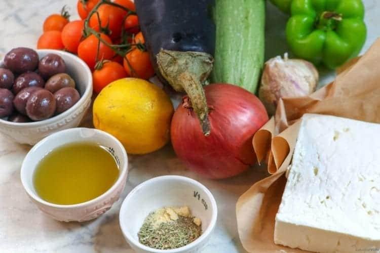 Greek feta traybake ingredients