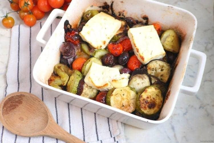 Greek feta traybake fresh out of the oven