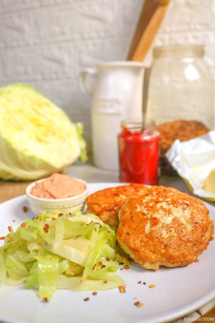 Best keto chicken patties with spicy fried cabbage and tomato butter