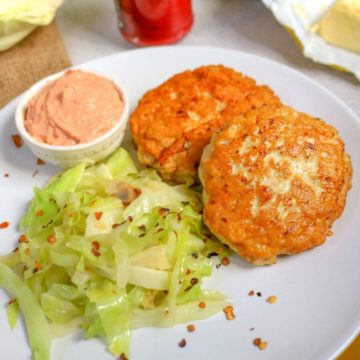 Keto Chicken Patties with Spicy Cabbage and Tomato Butter