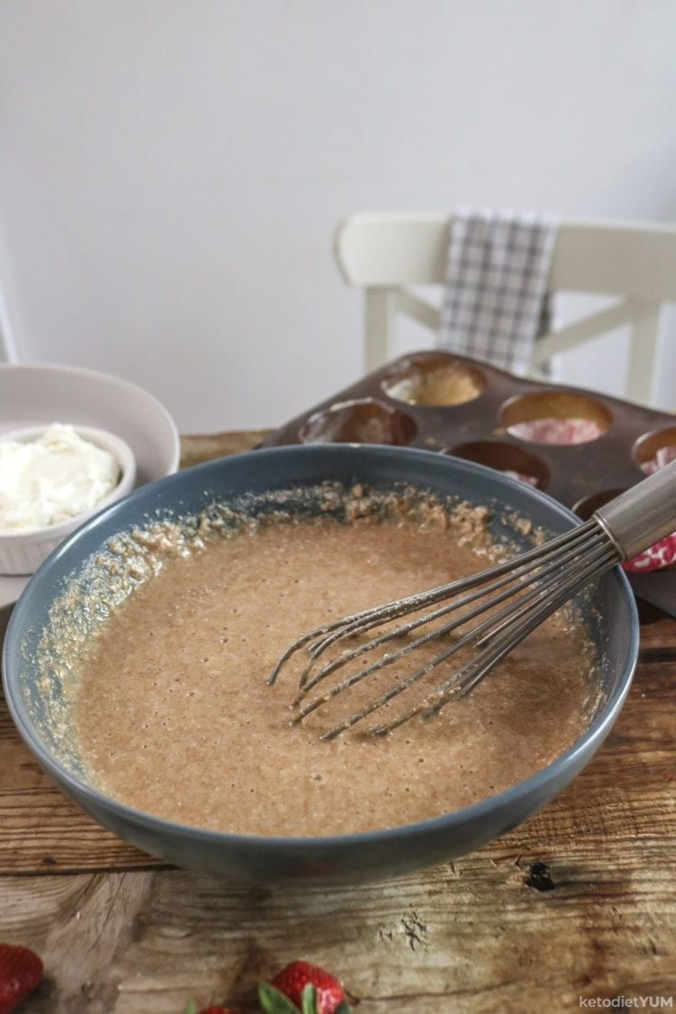 Mixing the wet and dry ingredients for our chocolate cupcakes