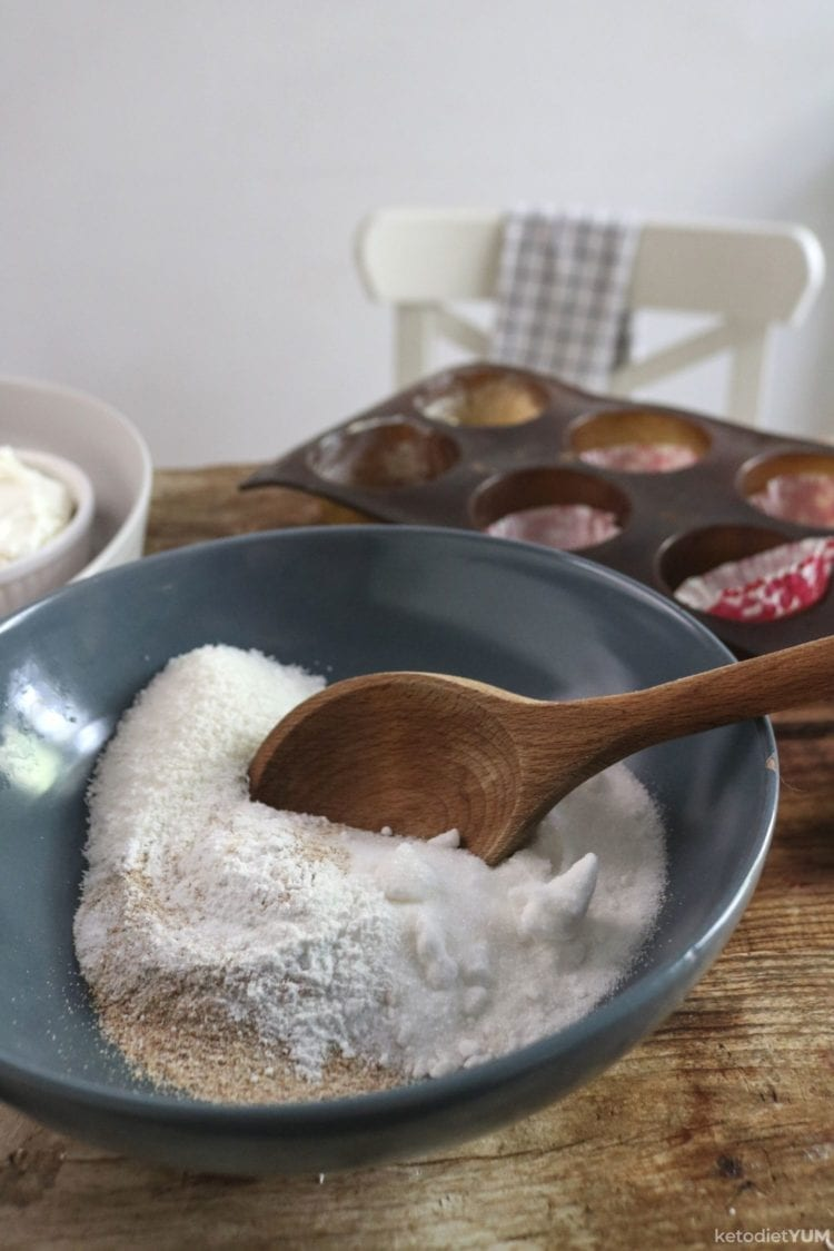 Mixing together the dry ingredients for our chocolate cupcakes