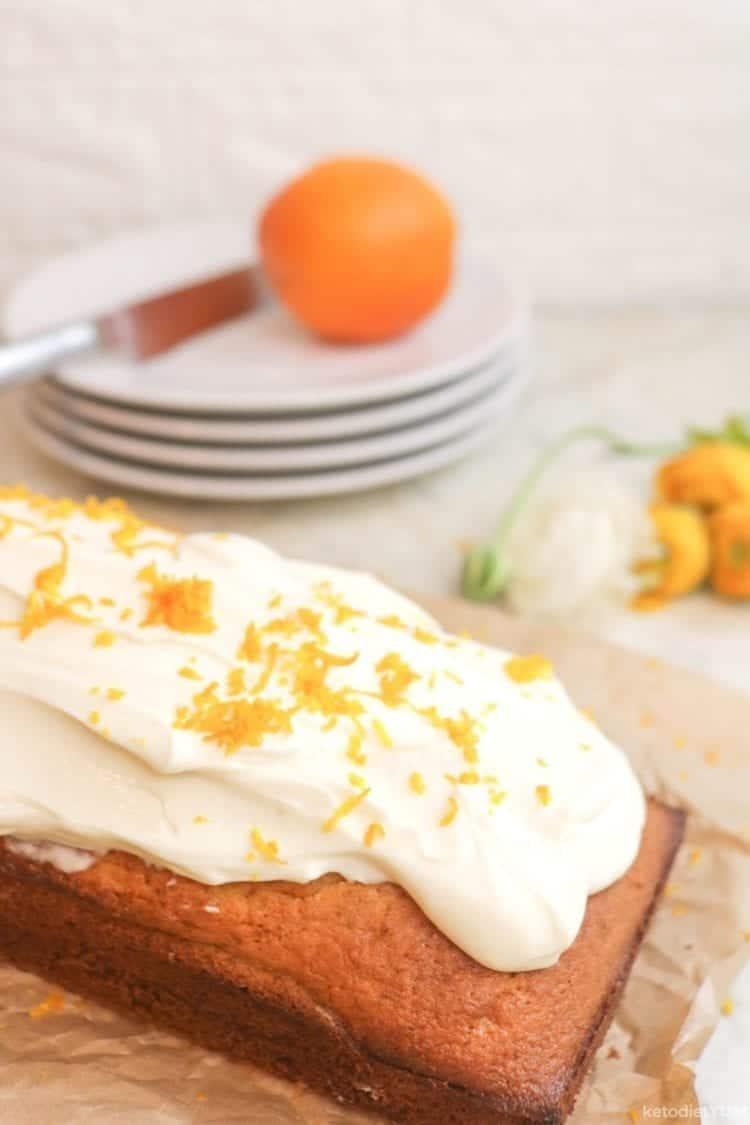 Delicious orange flour almond cake with cream cheese frosting ready to eat!