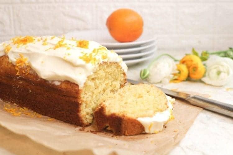 Delicious almond flour orange cake with cream cheese frosting
