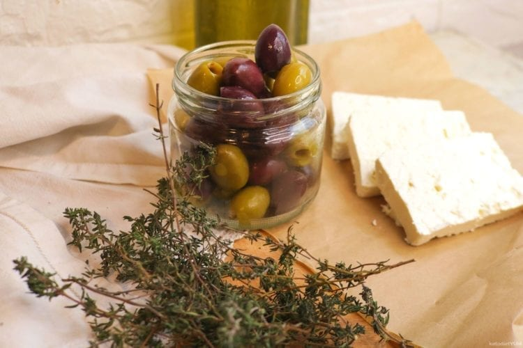 Sliced feta cheese and olives