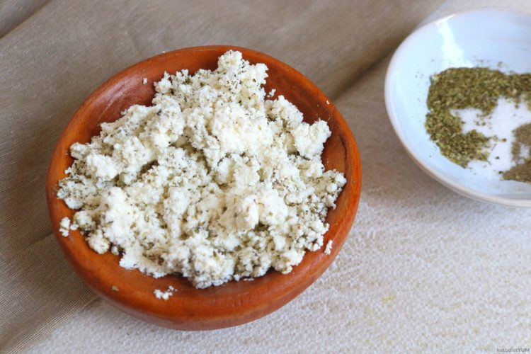 Mixing together the cheese and herb fillings