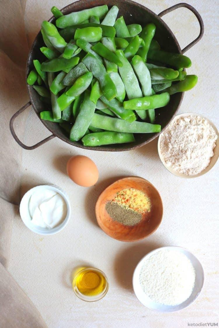 Ingredients to make baked green bean fries