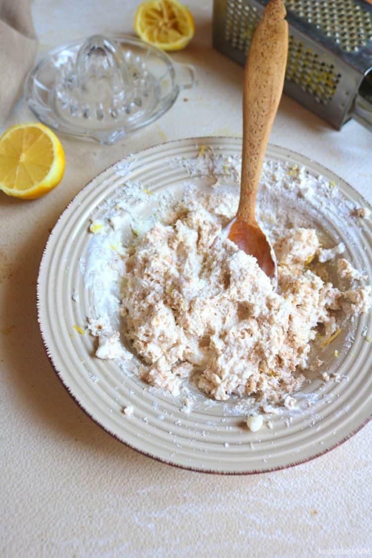 Mixing ingredients to make lemon fat bombs