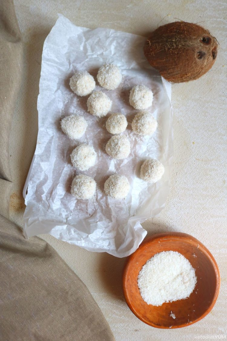Lemon fat bombs ready to set in the freezer