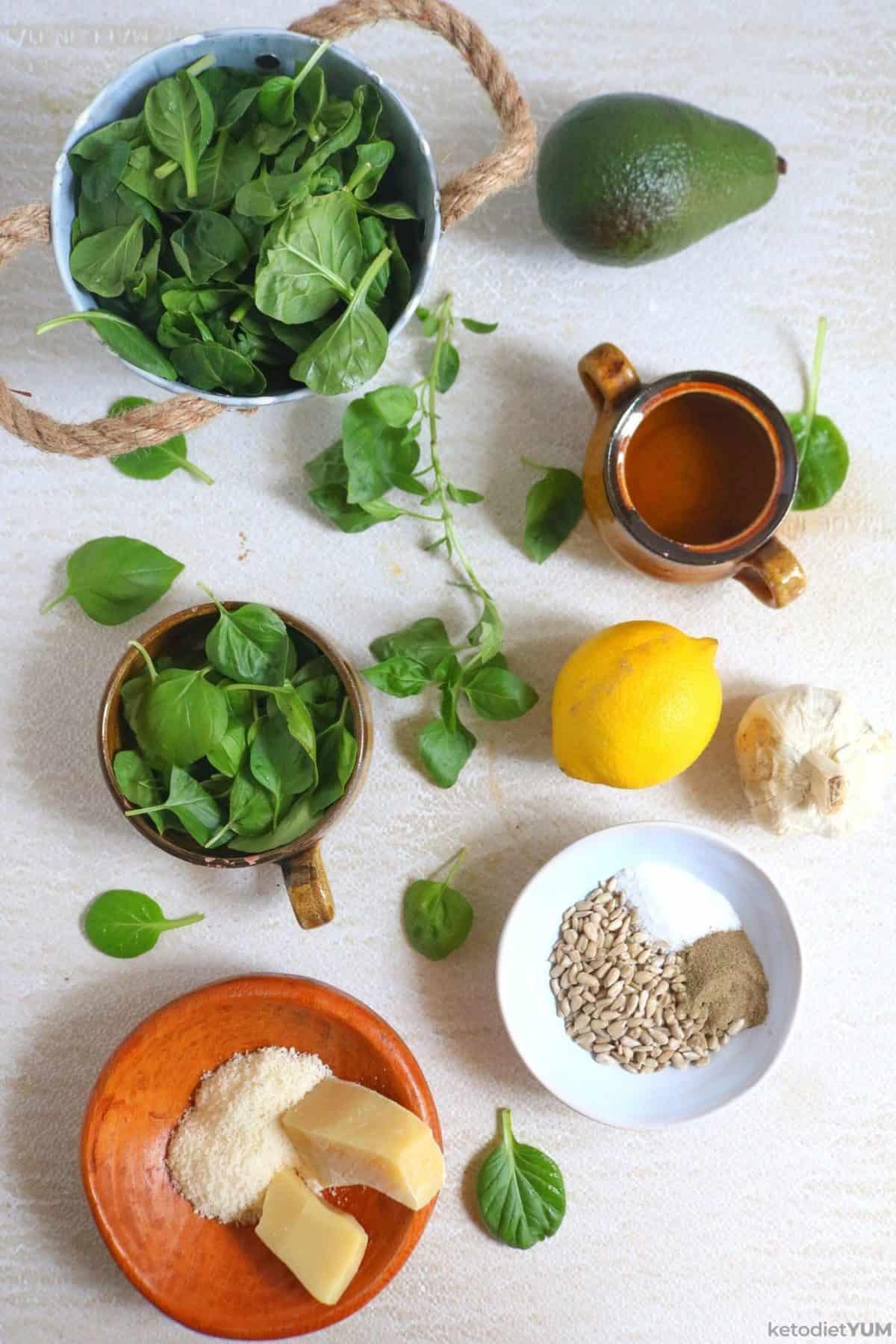 Fresh ingredients for homemade avocado pesto